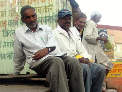 three Indian men in Varanasi